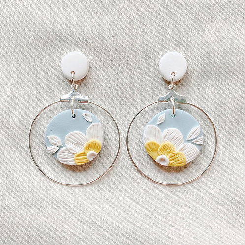 Blossom Circle Hoop Dangles - Blue