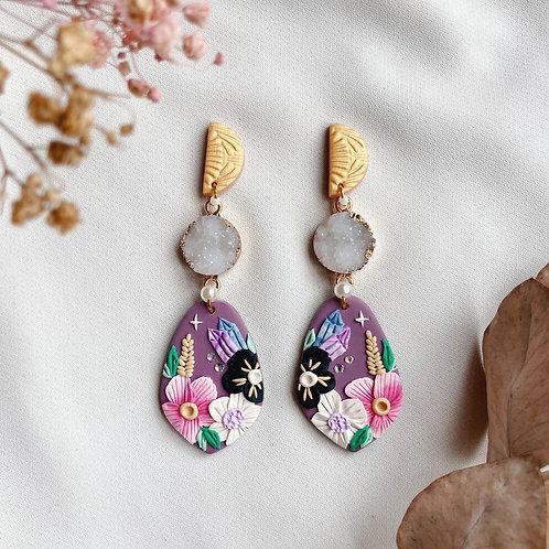 Half Moon Purple Crystal Florals