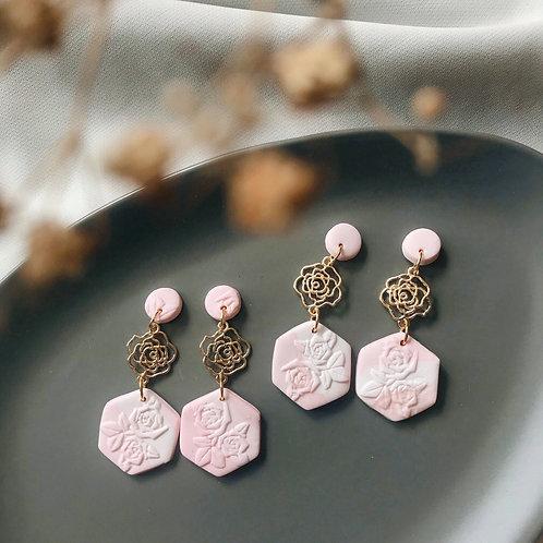 Pink Rose Hexagon Dangles