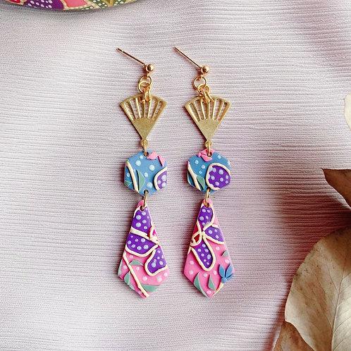 Batik Purple Flower Bundle - Fan