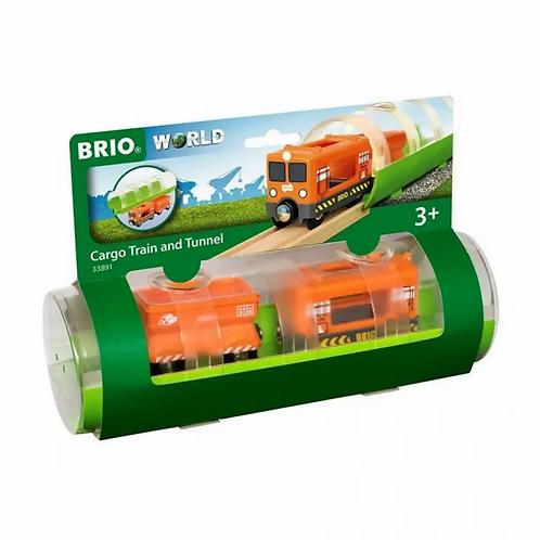 BRIO Train - Cargo Train and Tunnel, 3 pieces