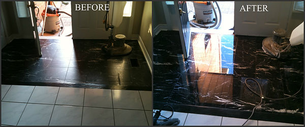 Before and After, marble polishing, black marble, grinding, polishing to natural shine