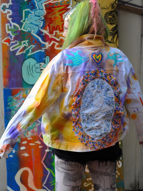 Big Peacock Energy Painted Jacket