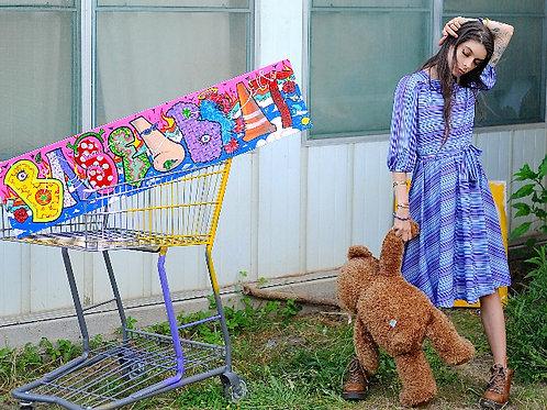 Purple Striped  80s Dress