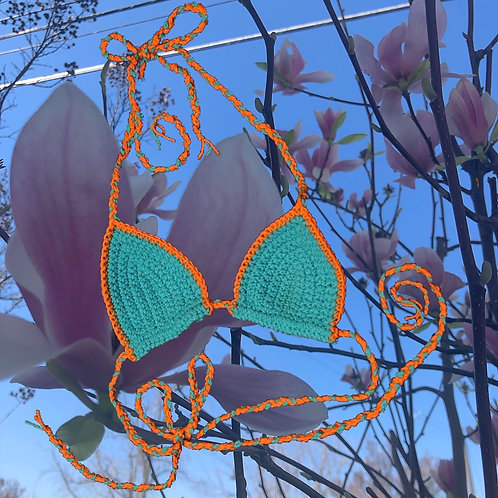 Orange and Blue Bikini Top