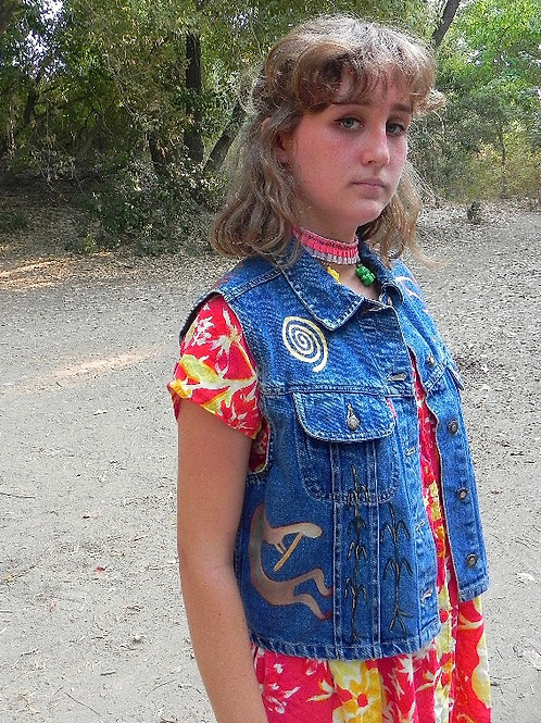 Handpainted Canyon De Chelly Denim Vest