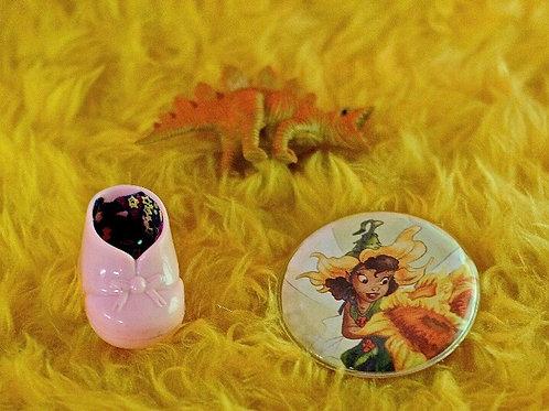 Pins Set of Three Dinosaur, Irridessa, pink baby bootie