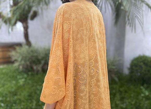 Kimono em laise floral amarelo