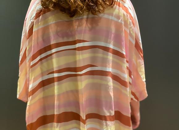Kimono curto em viscose listrado