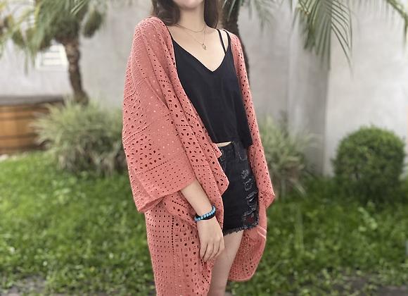 Kimono em laise rosê