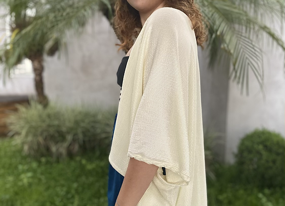 Kimono com malha em lurex texturizado branco