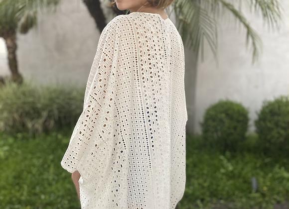 Kimono em laise branco