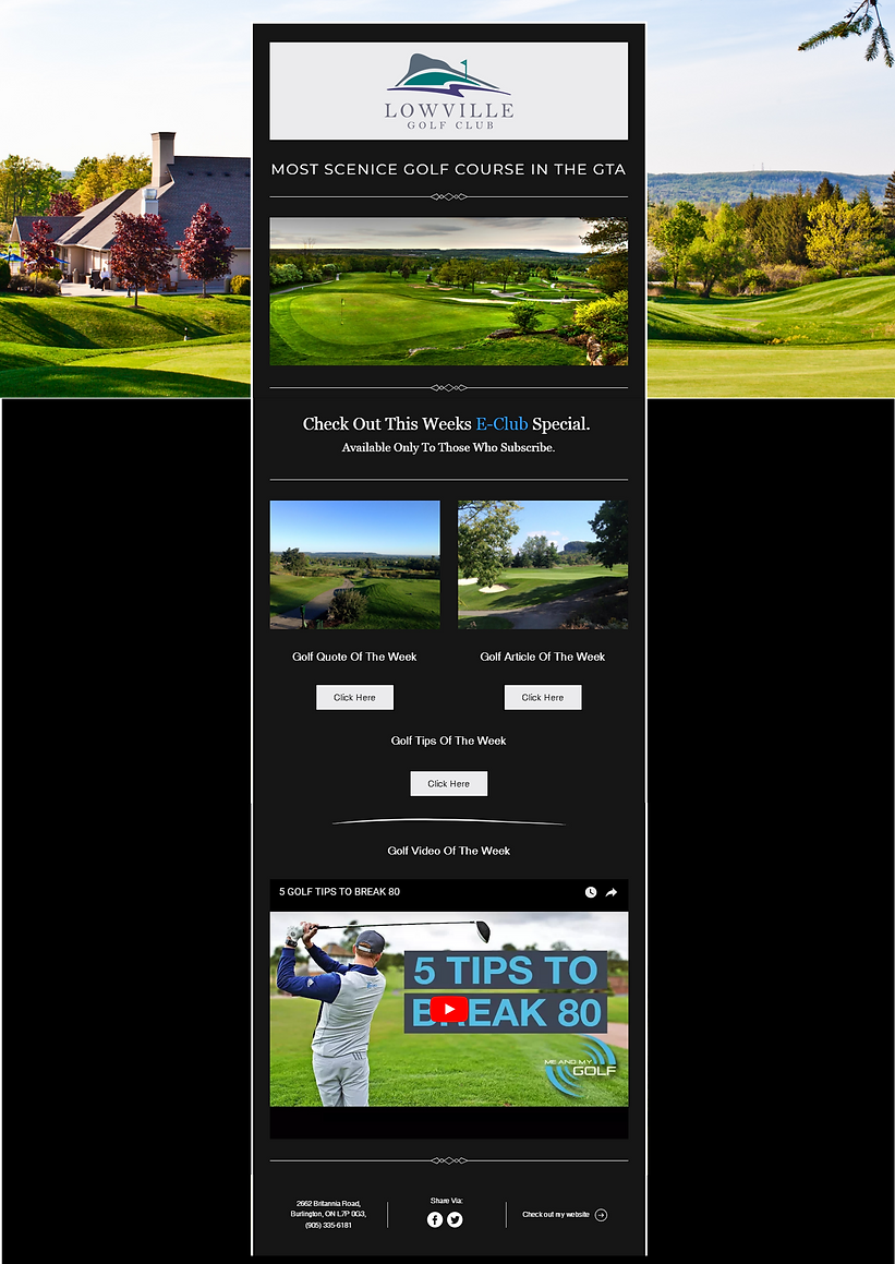 Golf Course Email Marketing Template