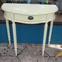 Demi Lune Great As Entry Table_#paintedfurniture #homedecor #interiordesign #brightandcheery #cottag