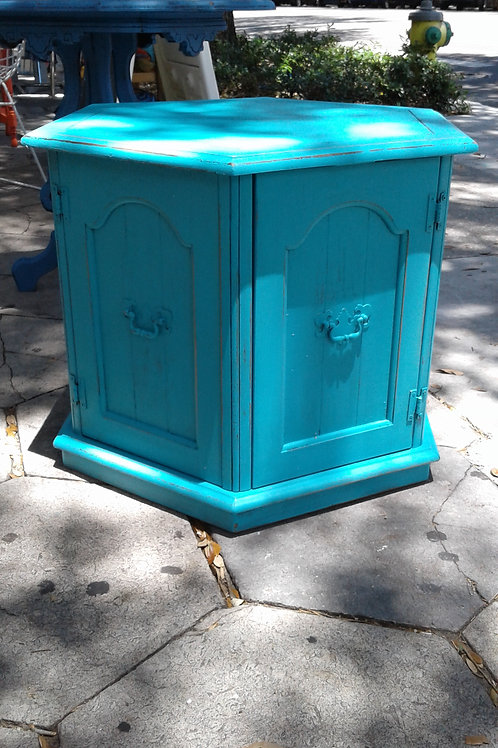 OCTAGON TURQUOISE ACCENT TABLE