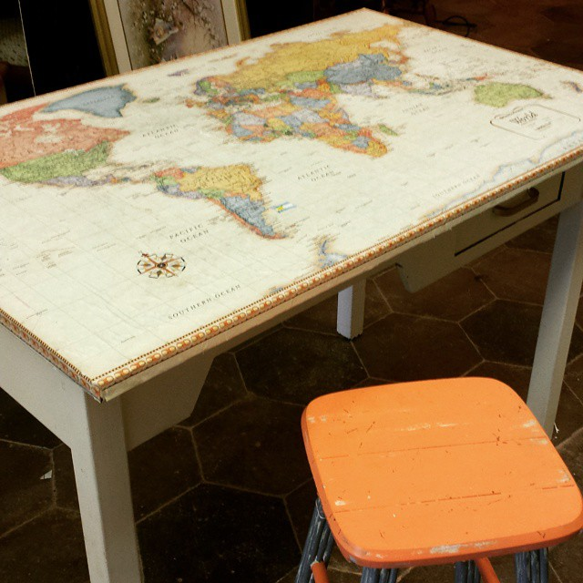 World Work Table_#furniture #funstuff #vintage #homedecor #worldmap #kidsroom