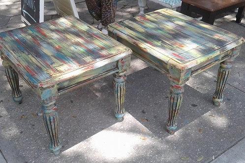 CASA RUSTICA PAIR MULTI COLOR SIDE TABLES