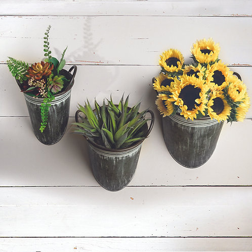 METAL WALL PLANTER BUCKETS SET OF 3 (AS SHOWN)
