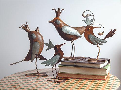 CROWNED METAL BIRDS (SET 4 AS SHOWN)