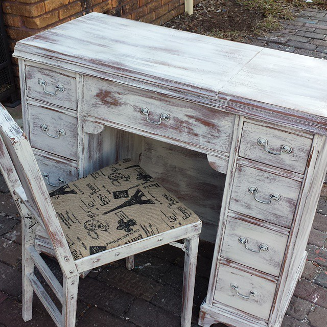 Old sewing table into desk