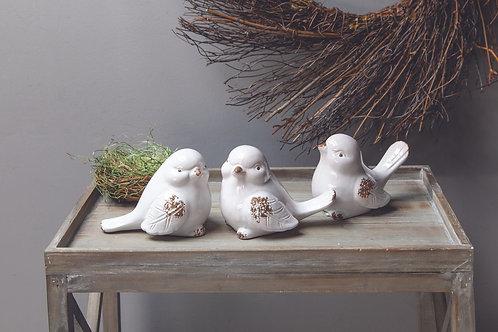 CREAM CERAMIC BIRDS (SET 3 AS SHOWN)
