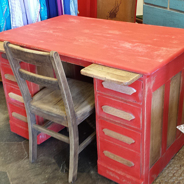 Geranium Red Oak Desk_#office #600blockstpete #homedecor #furniture #coolstuff #eclectic #desk