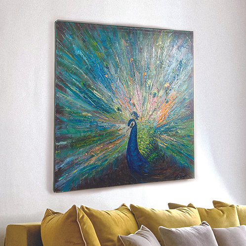 PEACOCK PAINTED CANVAS ART