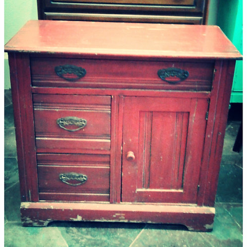 RUSTIC RED ACCENT CABINET