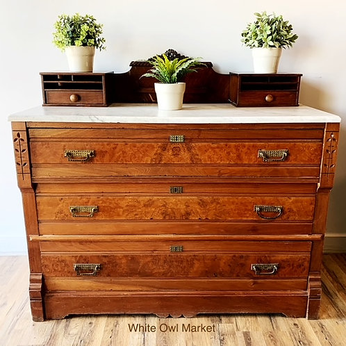 ANTIQUE EASTLAKE  CHEST W/MARBLE TOP