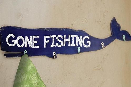 GONE FISHING WHALE WALL HOOK