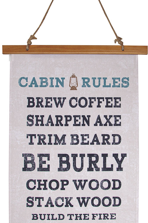 CABIN RULES WALL HANGING
