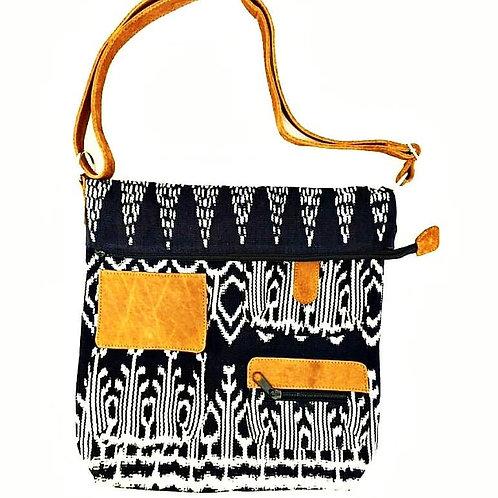 Black IKAT & Leather Messenger Bag