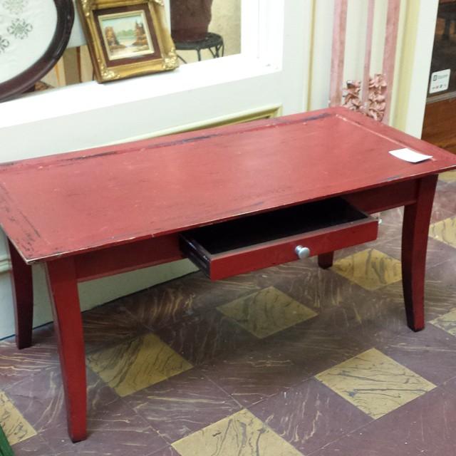 Red Distressed Coffee Table_#whiteowlmarket #stpete #600block #crisliparcade #homedecor #furniture