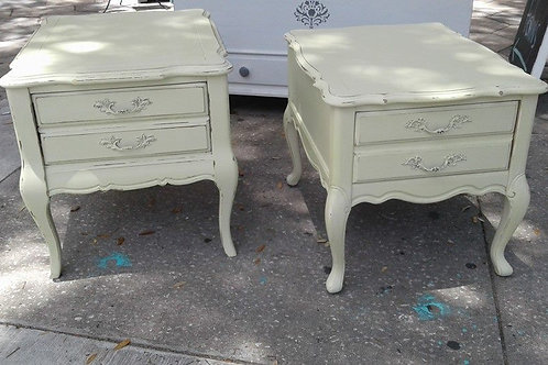 CHATEAU CHIC SOFT YELLOW PAIR OF SIDE TABLES