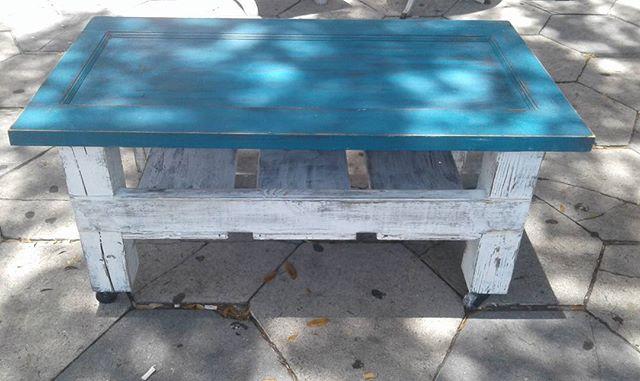Repurposed Door into Coffee Table_#repurposed #nowaste #urbanchic #paintedfurniture #homedecor