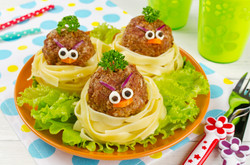 Funny spaghetti with meatballs for kids.