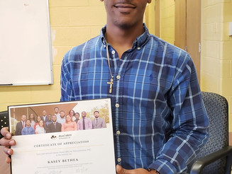 Longtime DonCARES Mentor Kasey Bethea Gifted With Certificate of Appreciation