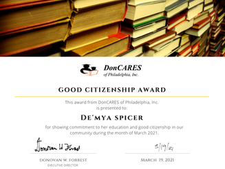 Good Citizenship Award: De'Mya Spicer