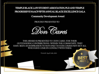 DonCARES Awarded 2021 Community Development Award from BLSA and The Progressive NAACP.