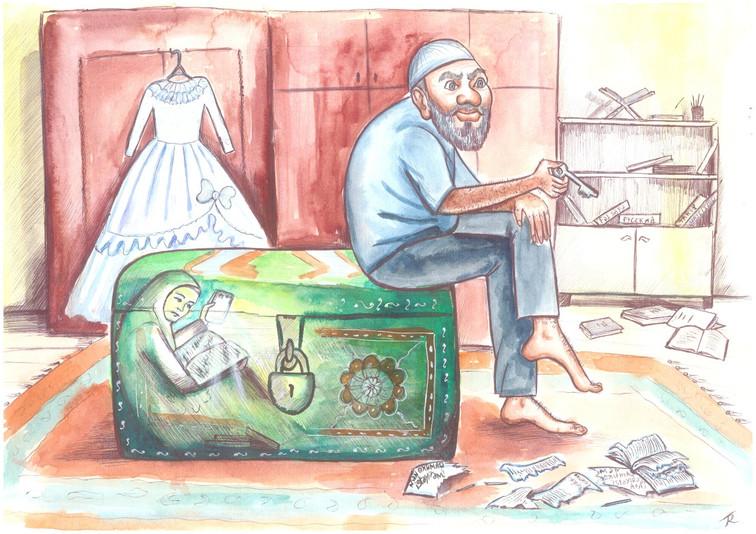 """Karikatura: """"Elm üçün mübarizə"""""""