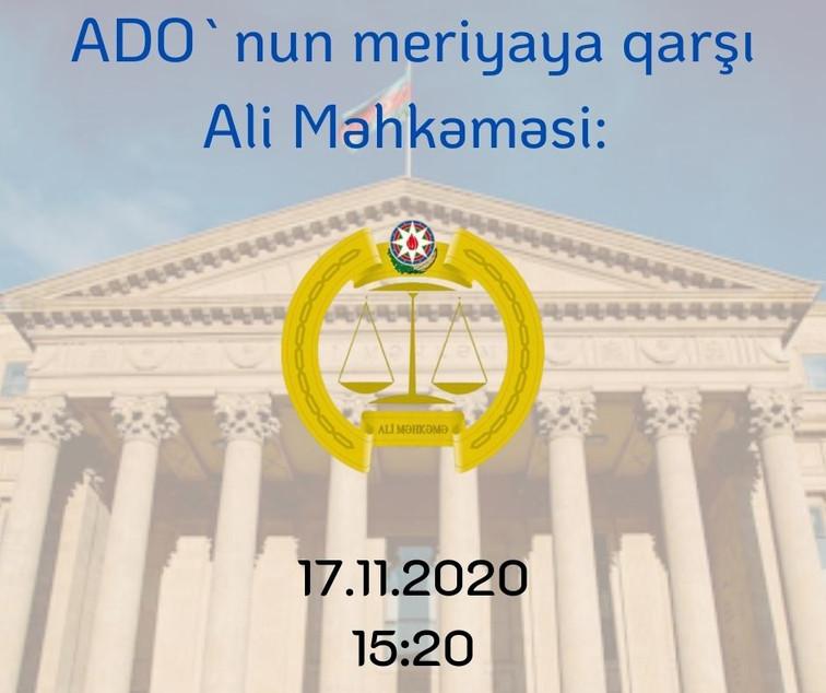 ADO meriya ilə Ali Məhkəmədə çəkişəcək: