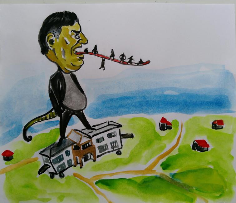 """Karikatura: """"Sizə Xol Qaraqaşlıdan torpaq verəcəm"""""""
