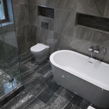 Grey bathroom with Free standing Bath.jp