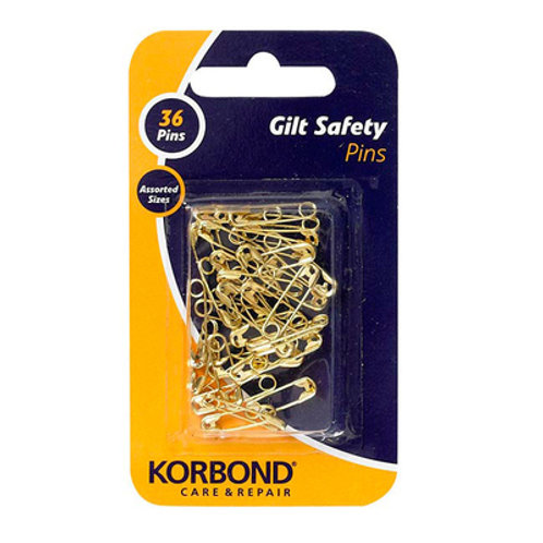 Korbond Gilt Safety Pins 36pc