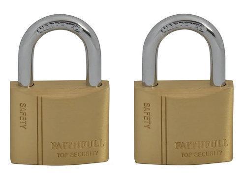 Faithfull Brass Padlock Twin Pack 40mm