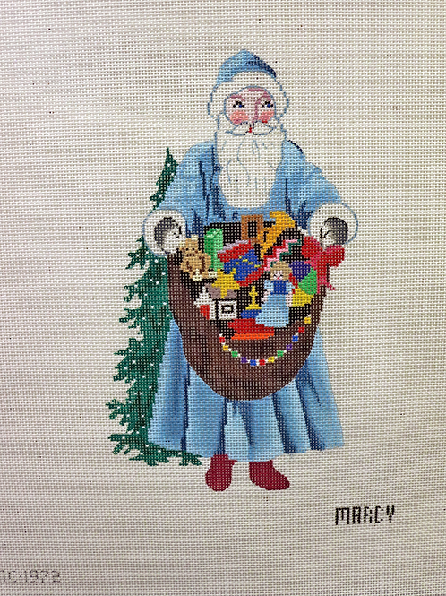 """8.5"""" x 4.5"""" Santa in Blue Coat with Presents by Marcy"""