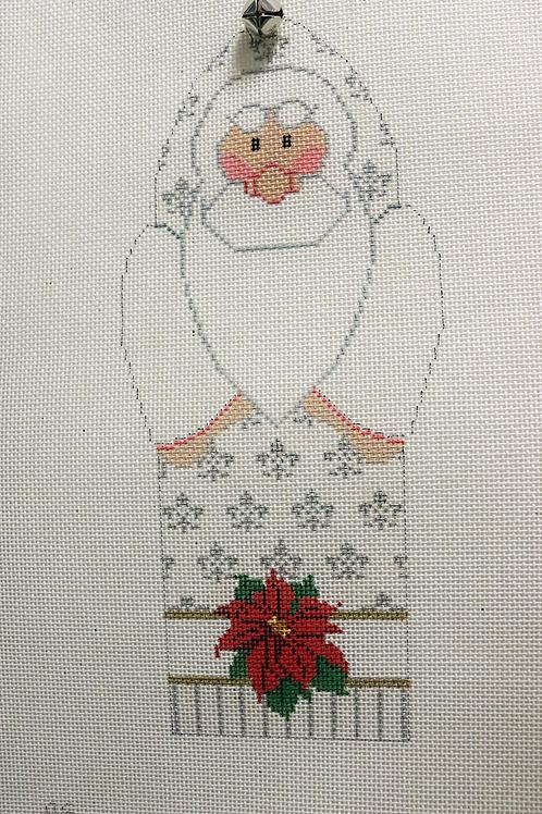 """9"""" x 4"""" Santa - White"""