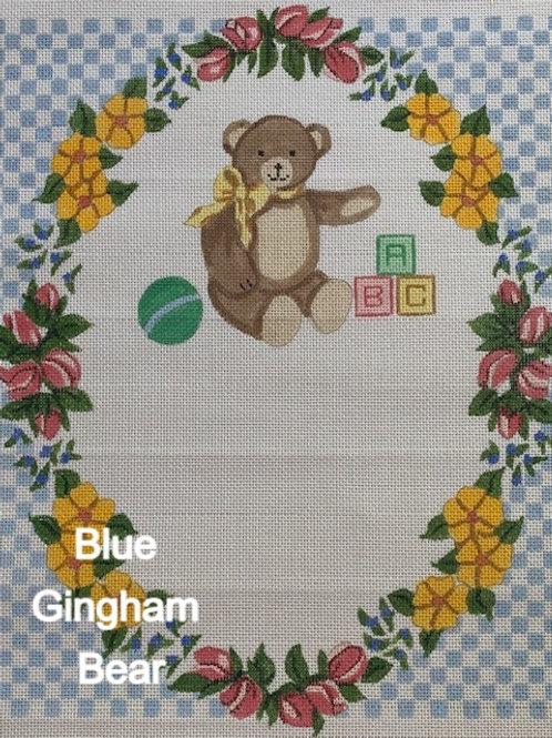 Blue Gingham Bear Birth Announcement