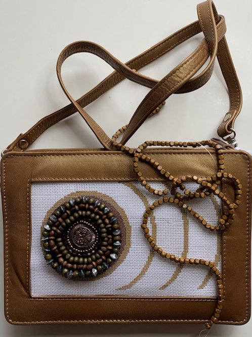 Leather Purse with canvas and embellishments