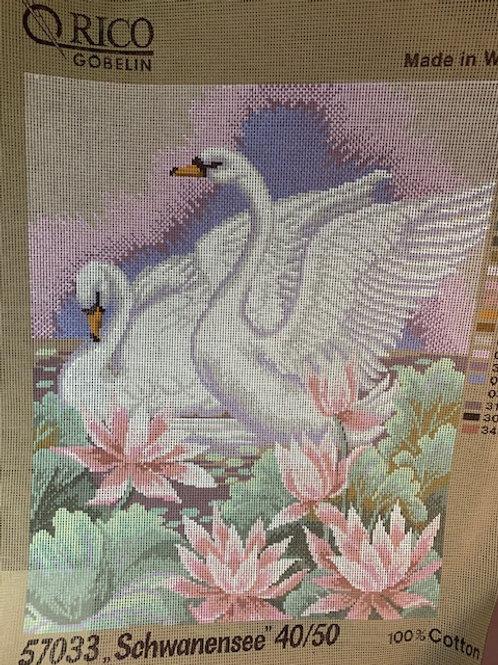 Swan Pair Tapestry Canvas